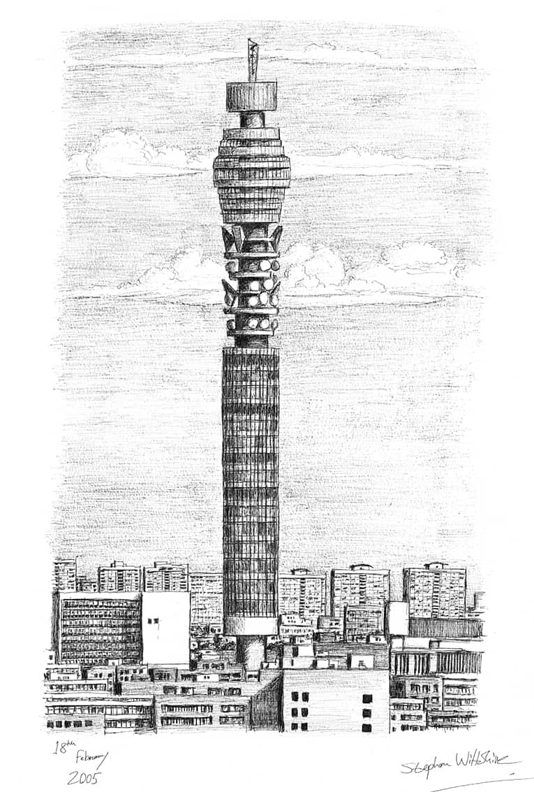BT Tower London (A4 print) with White mount (A4)