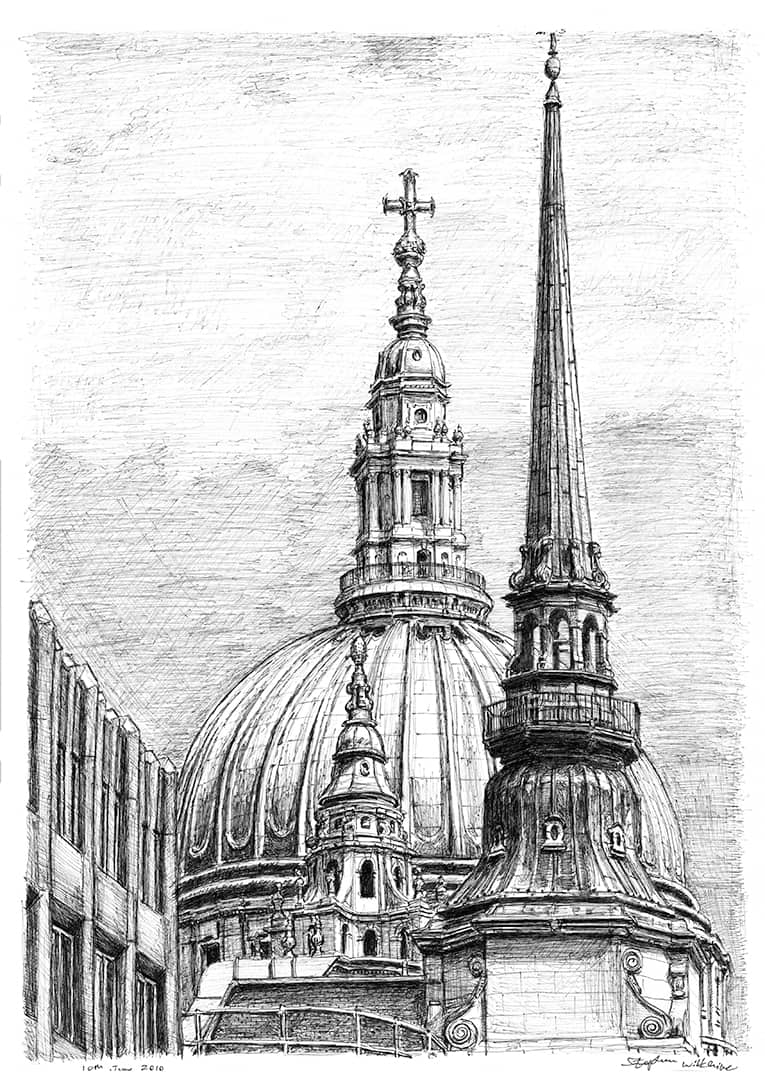 The Dome of St Pauls Cathedral - original drawings and prints by Stephen Wiltshire