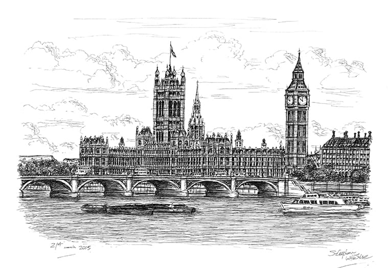 Houses of Parliament - Original Drawings and Prints for Sale
