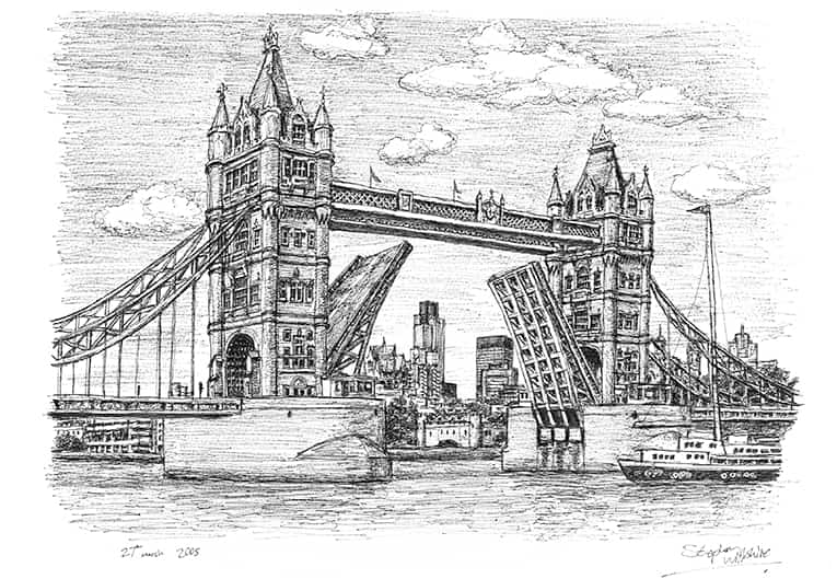 Tower Bridge (A4 print) with White mount (A4) in Flat grain black frame for A4 mounts (J90)