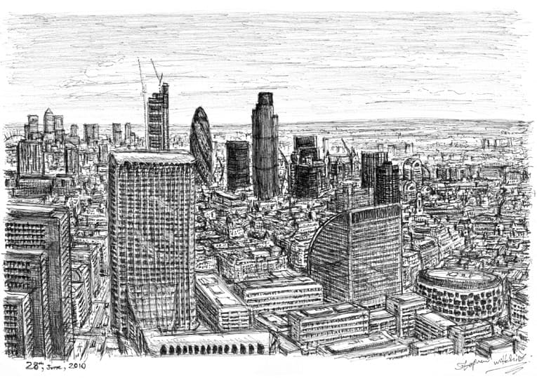 View from the top of Cromwell Tower, Barbican - original drawings and prints by Stephen Wiltshire
