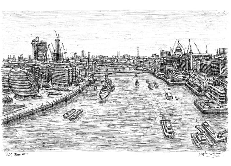 View of London from the turrets of Tower Bridge - originals and prints by Stephen Wiltshire MBE