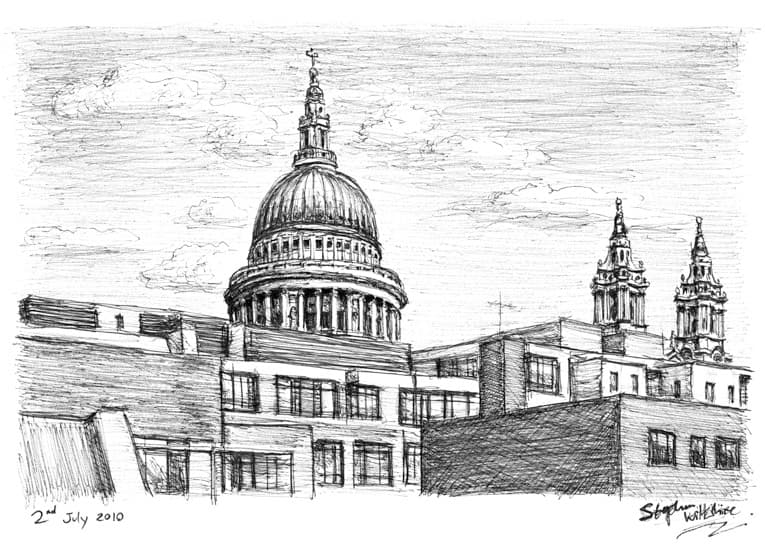 View of St Pauls from Fleet street - originals and prints by Stephen Wiltshire MBE