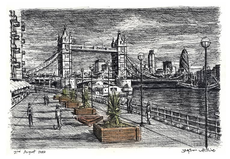 River Thames with Tower Bridge (A4 print) with White mount (A4)