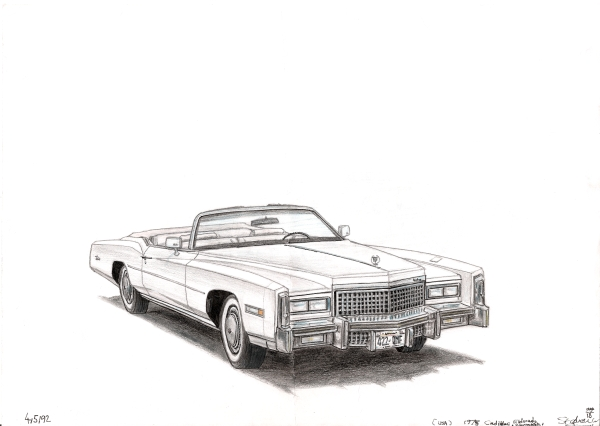 1975 Cadillac Eldorado Convertible - original drawings and prints by Stephen Wiltshire