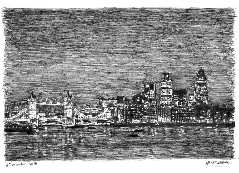 Tower Bridge and London City Skyline at night - originals and prints by Stephen Wiltshire MBE