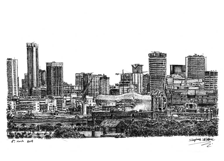 Birmingham skyline with White mount (A4) in Flat grain black frame for A4 mounts (J90)