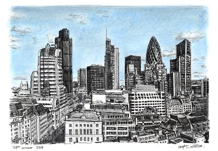 View of City of London from the Monument with White mount (A4) in Flat grain black frame for A4 mounts (J90)