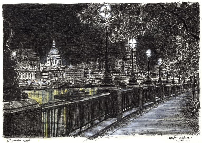 St Pauls and London skyline from Southbank at night with White mount (A4) in Flat grain black frame for A4 mounts (J90)