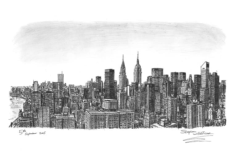 Manhattan Skyline - original drawings and prints by Stephen Wiltshire