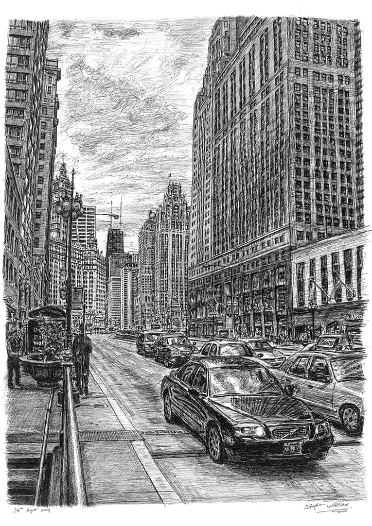Chicago street scene - originals and prints by Stephen Wiltshire MBE