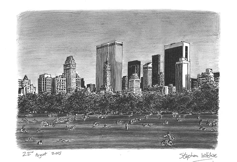 Central Park with White mount (A3)