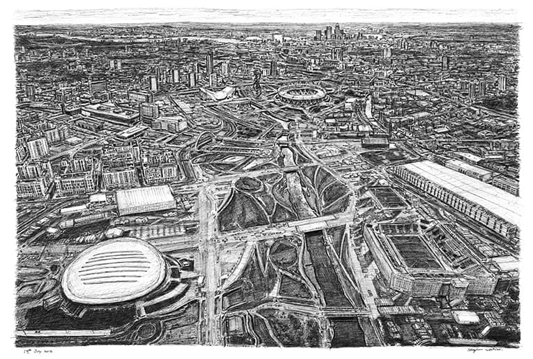 Aerial view of the Olympic village at Stratford - drawings and paintings by Stephen Wiltshire MBE