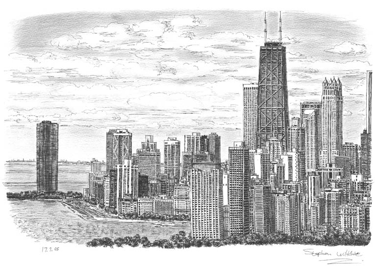 Chicago Skyline - originals and prints by Stephen Wiltshire MBE