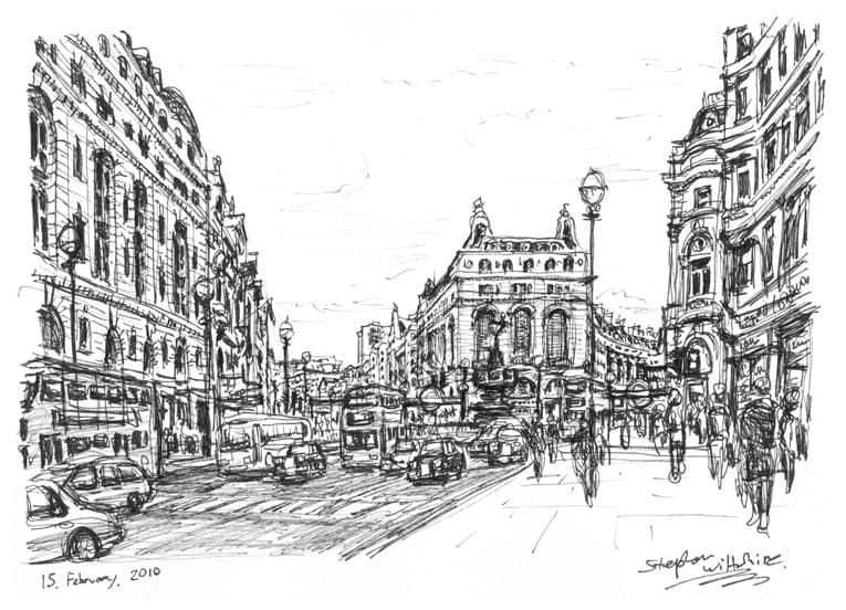 Piccadilly Circus - original drawings and prints by Stephen Wiltshire