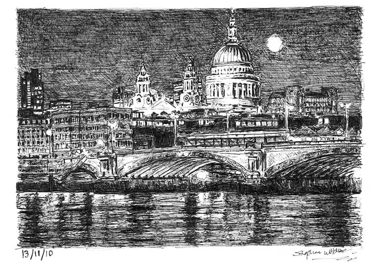 St Pauls Cathedral and River Thames at night - originals and prints by Stephen Wiltshire MBE