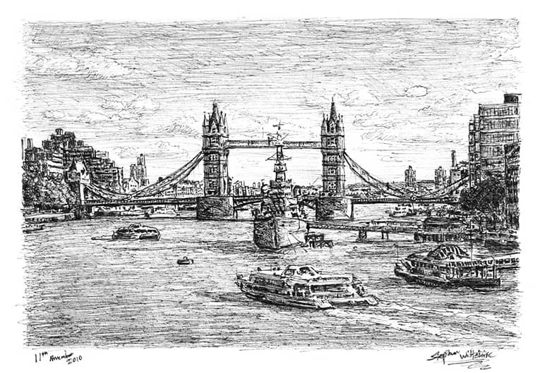 HMS Belfast and Tower Bridge (London) with White mount (A4) in Flat grain black frame for A4 mounts (J90)