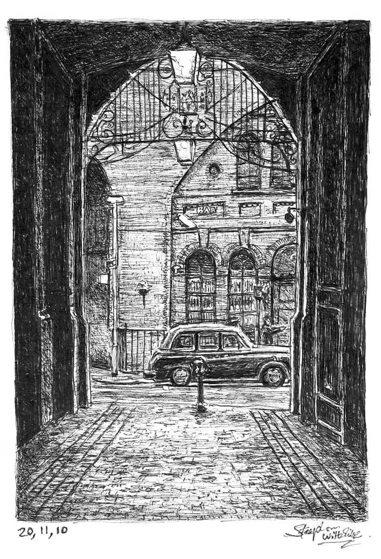Taxi and cobbled alley - Original Drawings and Prints for Sale