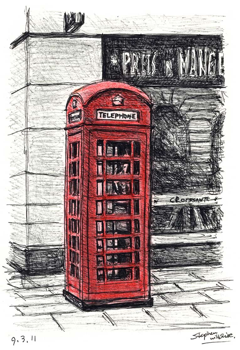 Telephone Box near the Royal Opera Arcade - drawings and paintings by Stephen Wiltshire MBE