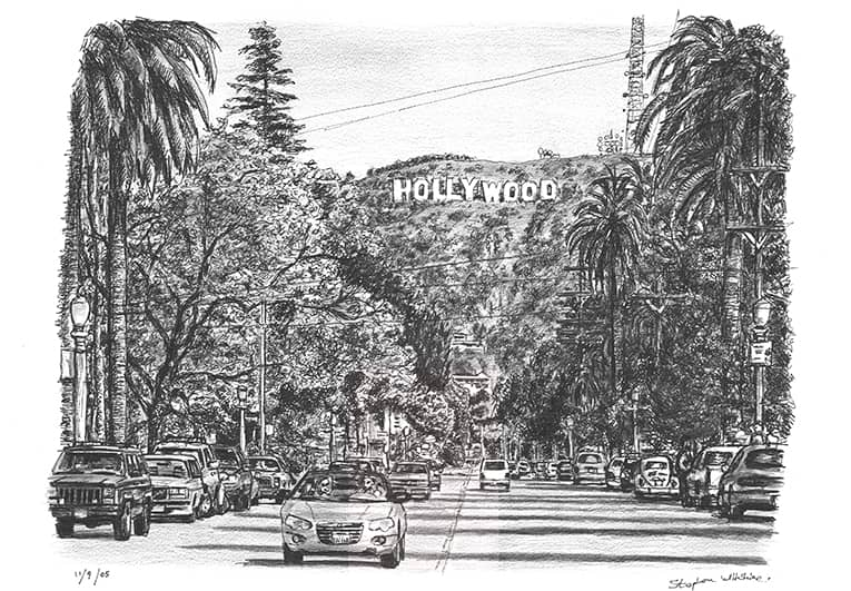 Hollywood Sign - originals and prints by Stephen Wiltshire MBE