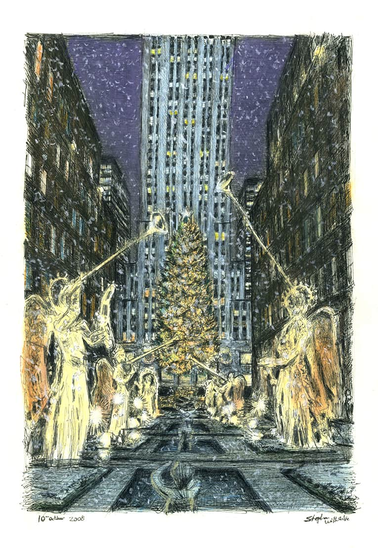 Rockefeller Center at Christmas (A4 print) with White mount (A4) in Flat grain black frame for A4 mounts (J90)