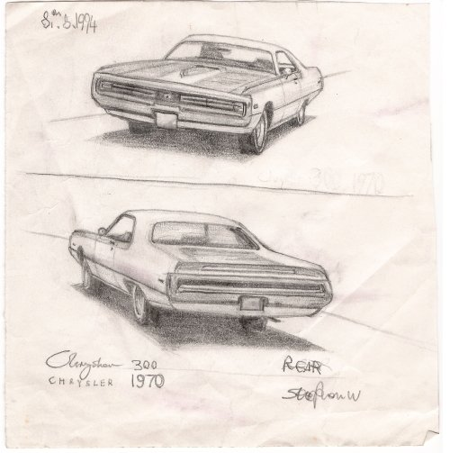 1970 Chrysler 300 - originals and prints by Stephen Wiltshire MBE