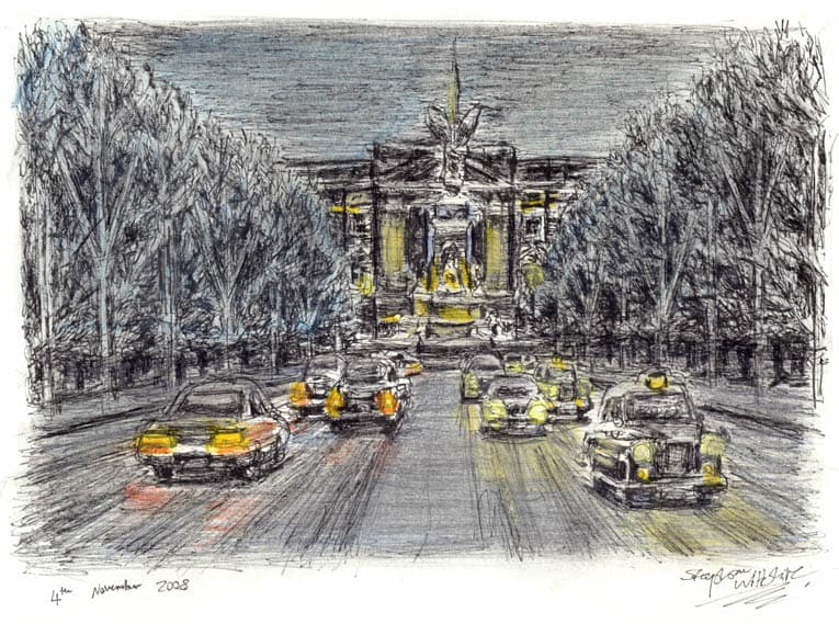 Snow scene at the Mall - originals and prints by Stephen Wiltshire MBE