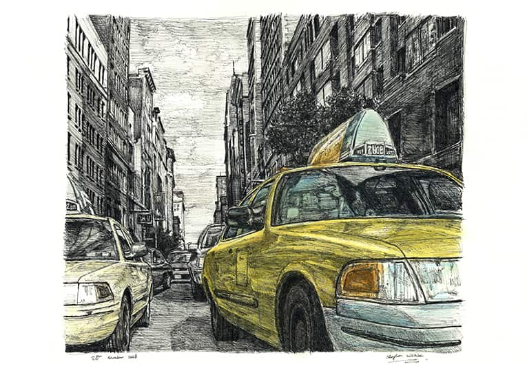 New York street scene with New York taxi cab - drawings and paintings by Stephen Wiltshire MBE