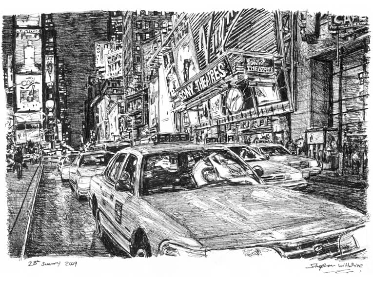 New York taxis at Times Square - original drawings and prints by Stephen Wiltshire