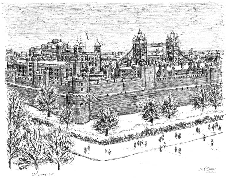 Tower of London - drawings and paintings by Stephen Wiltshire MBE