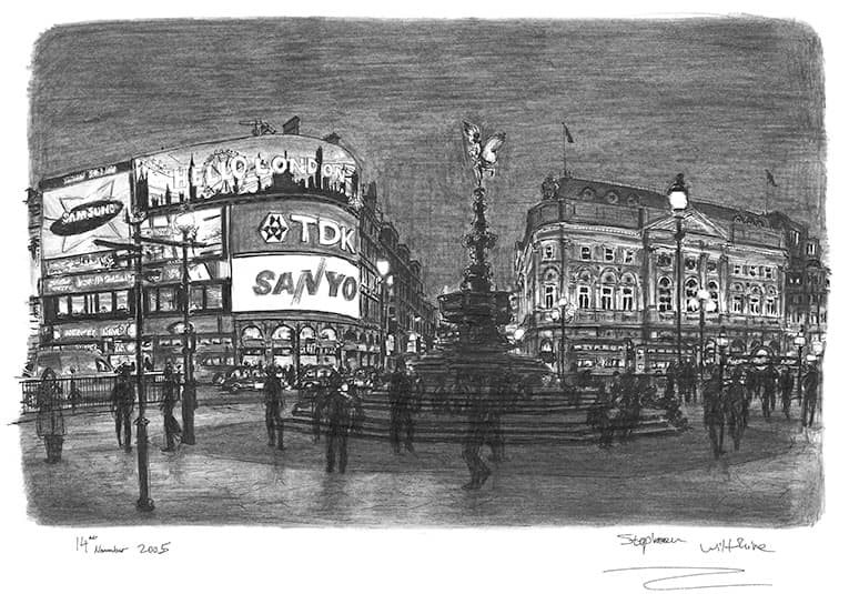 Piccadilly Circus, London - originals and prints by Stephen Wiltshire MBE