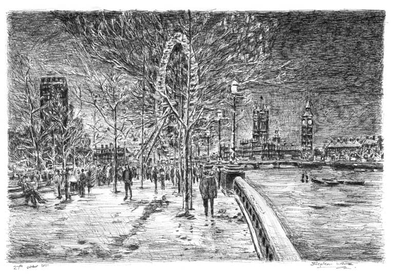 Winter scene at the Southbank - original drawings and prints by Stephen Wiltshire