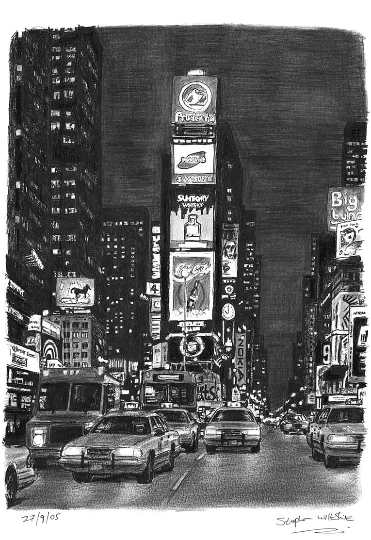 Times Square at night - drawings and paintings by Stephen Wiltshire MBE