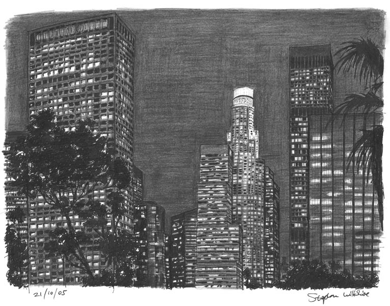 Los Angeles at night - original drawings and prints by Stephen Wiltshire