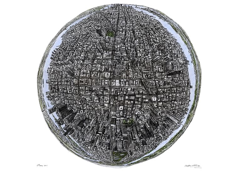 The Globe of New York - originals and prints by Stephen Wiltshire MBE