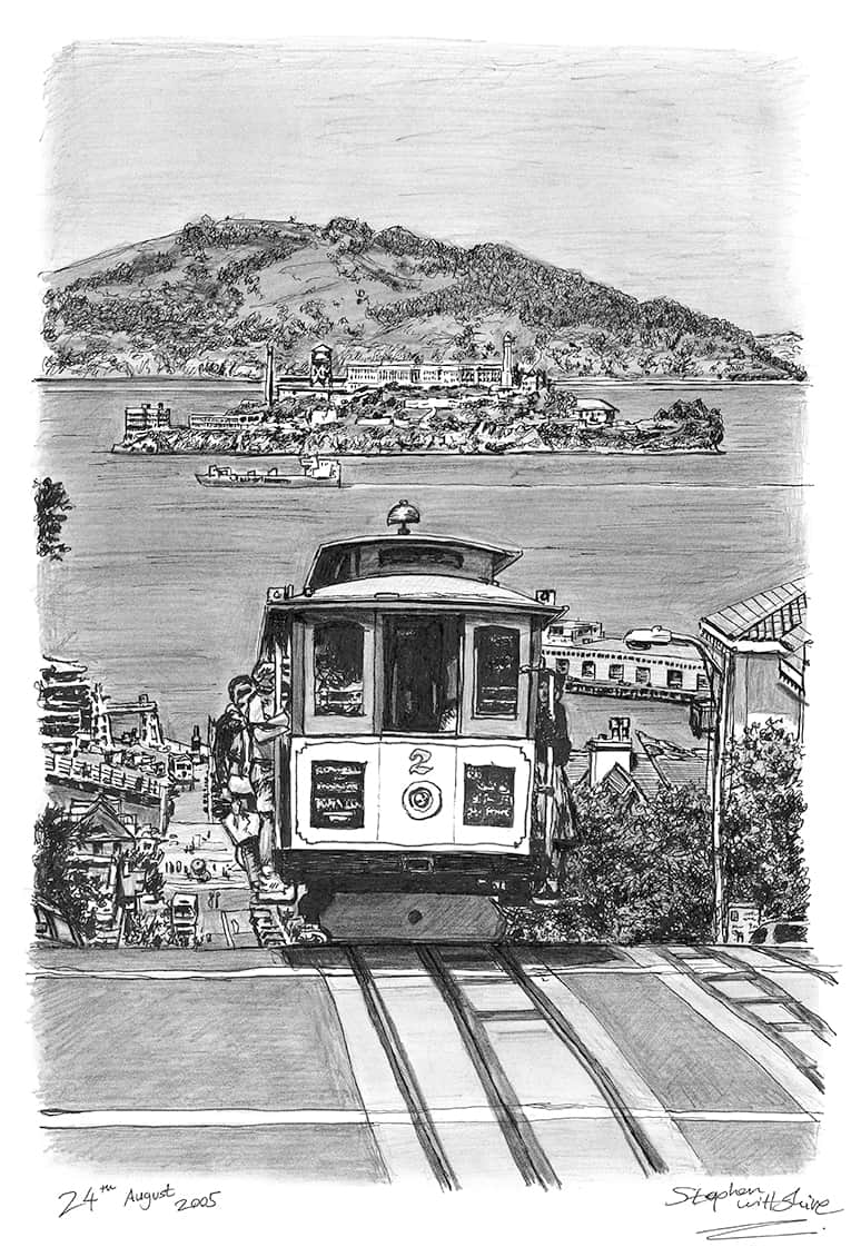 Cable car in San Francisco - originals and prints by Stephen Wiltshire MBE