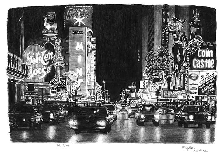 Las Vegas At Night Original Drawings Prints And Limited
