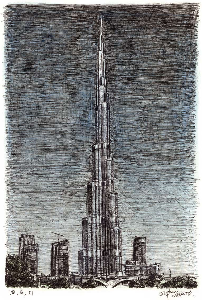 Burj Khalifa (Dubai) - original drawings and prints by Stephen Wiltshire