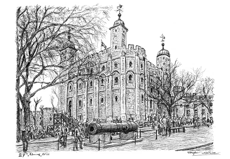 White Tower at Tower of London with White mount (A4)