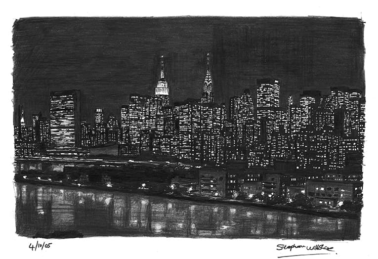 Manhattan Skyline at night - original drawings and prints by Stephen Wiltshire