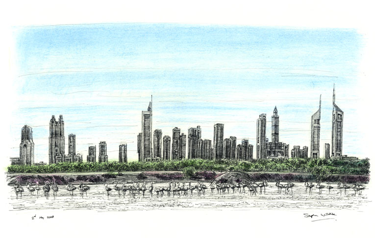 Dubai Skyline - drawings and paintings by Stephen Wiltshire MBE