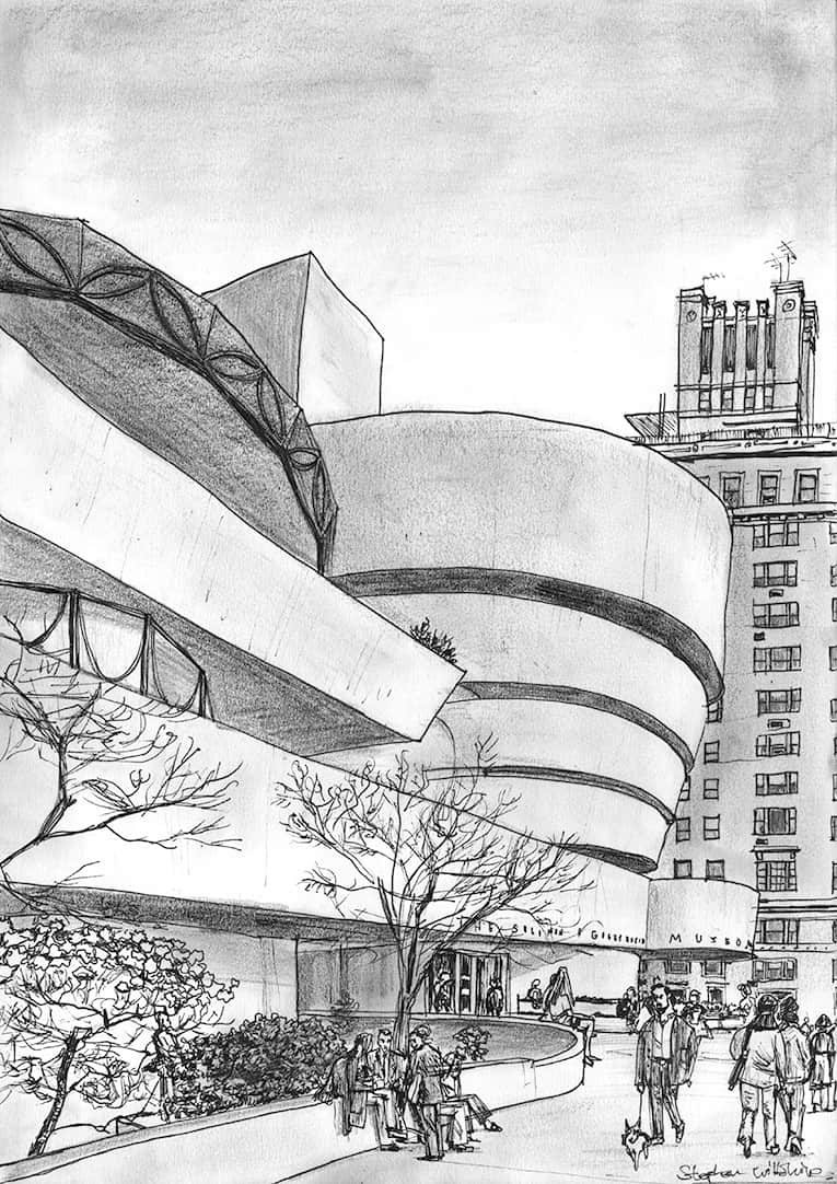 Guggenheim Museum in New York - drawings and paintings by Stephen Wiltshire MBE