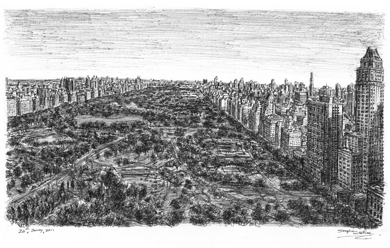 Central Park 39th floor of Helmsley Park Lane (NY) - drawings and paintings by Stephen Wiltshire MBE