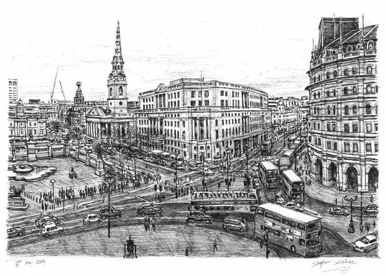 Trafalgar Square, London with White mount (A3) in Cushioned Black frame for A3 mounts (C59)