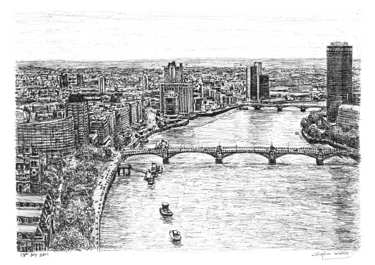 Aerial view of River Thames - Original Drawings and Prints for Sale