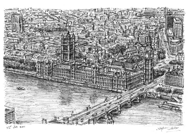 Aerial view of Houses of Parliament (London) - original drawings and prints by Stephen Wiltshire