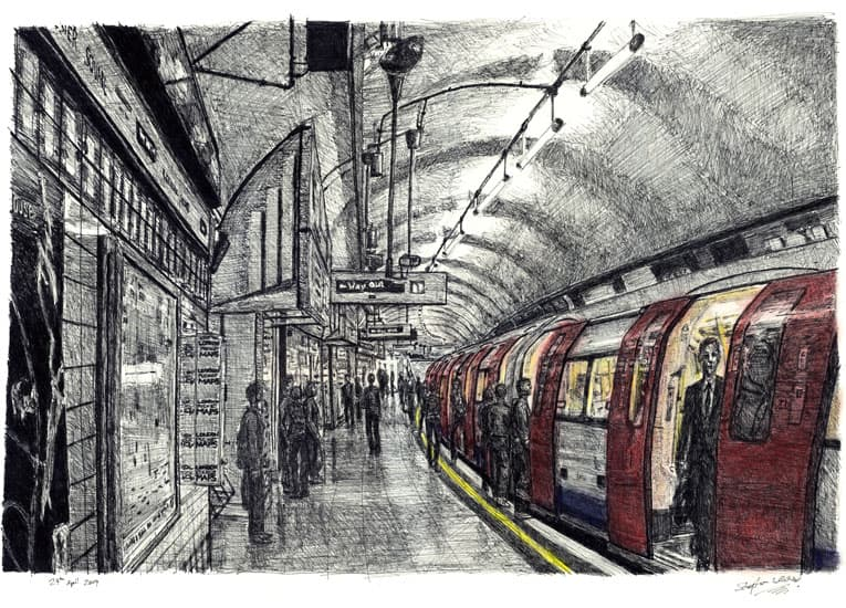 Leicester Square tube station, London - original drawings and prints by Stephen Wiltshire