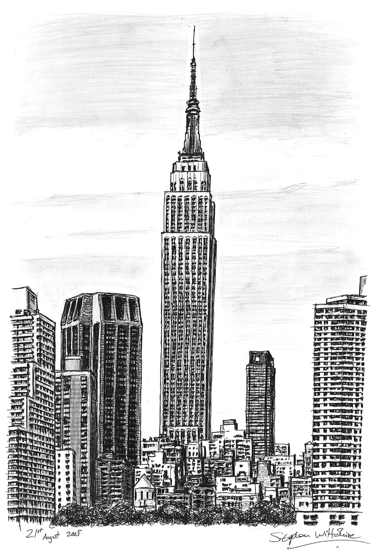 Art Building Drawings Empire State Building ny