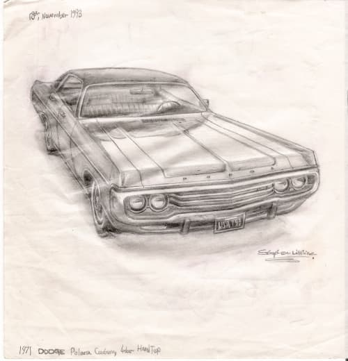 1971 Dodge Polara Custom 4 door Hard Top - drawings and paintings by Stephen Wiltshire MBE