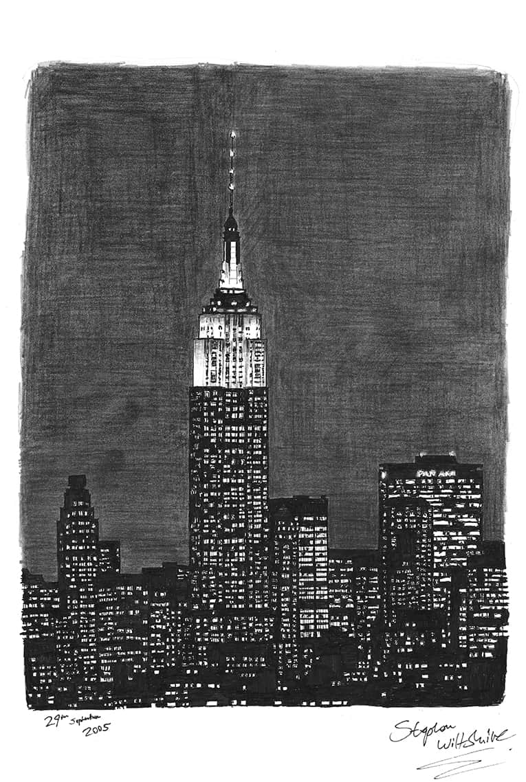 Empire State Building at night, NY - original drawings and prints by Stephen Wiltshire